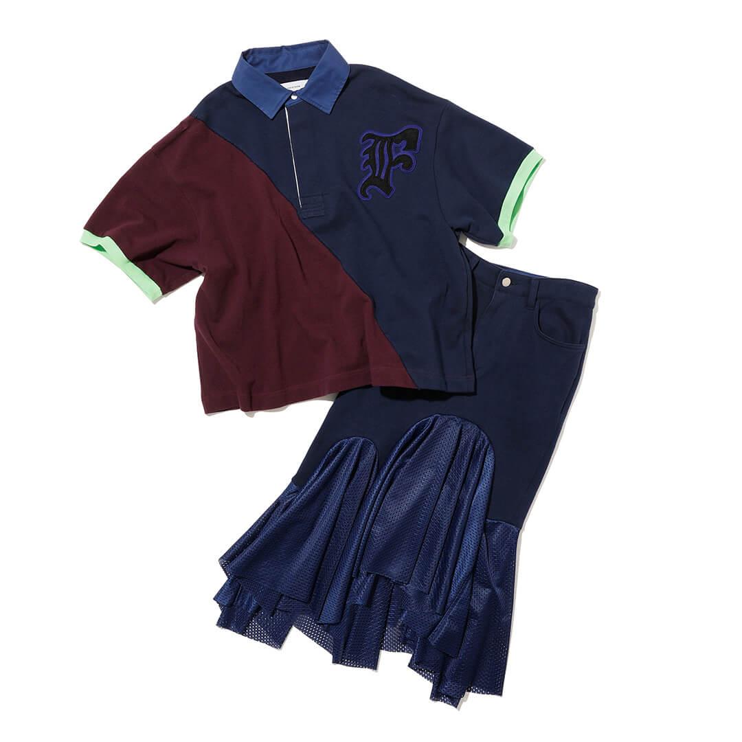 ファセッタズム×レイ ビームスの異素材MIXポロシャツ&スカート