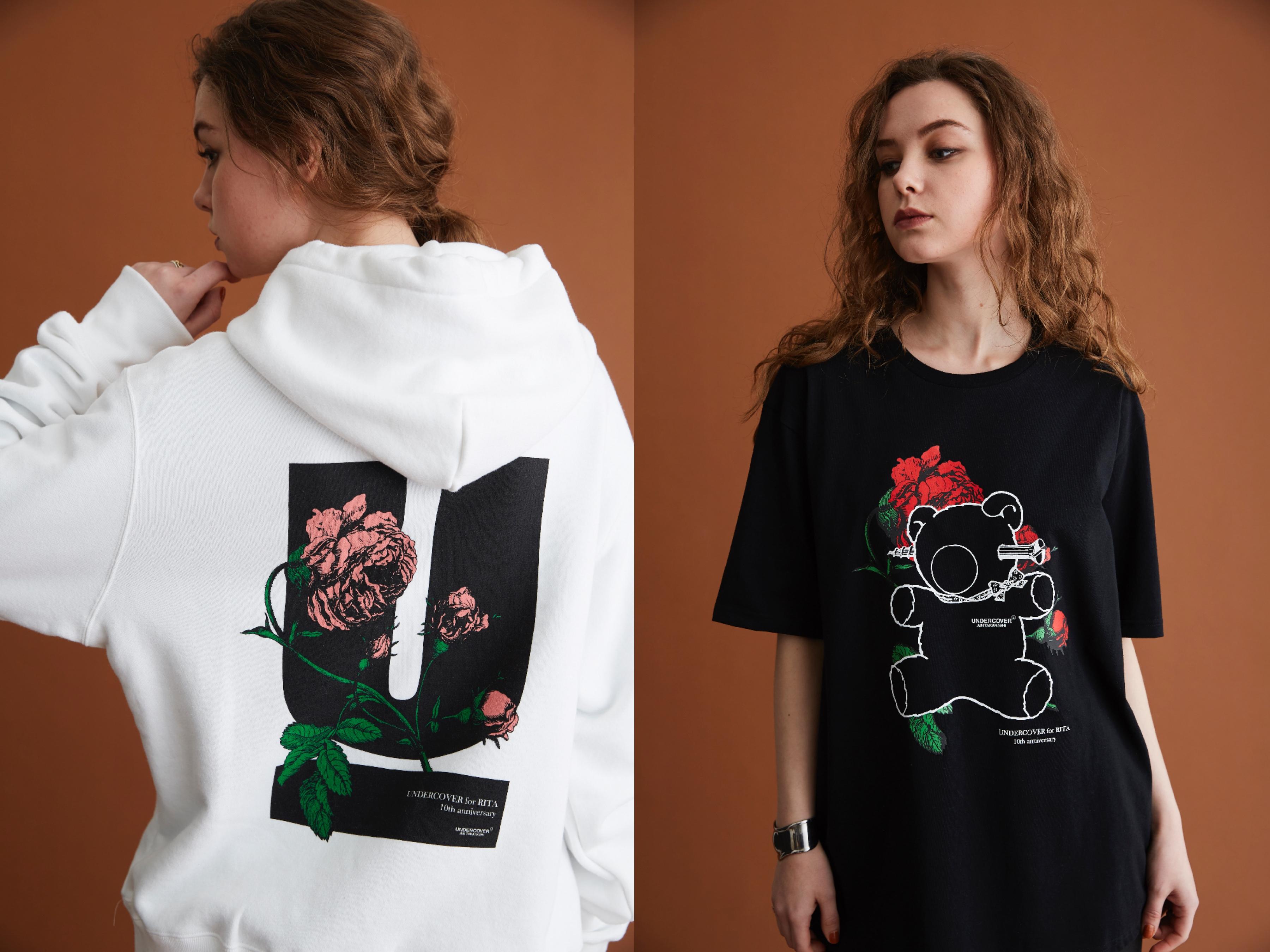 """新生RITAとUNDERCOVERがコラボレーション! お馴染みの""""U""""ロゴに薔薇を配した限定アイテムは完売必至です。"""