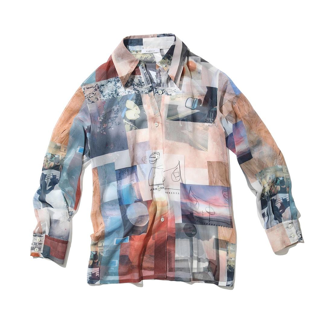 フィーニーのプリントシフォンシャツ