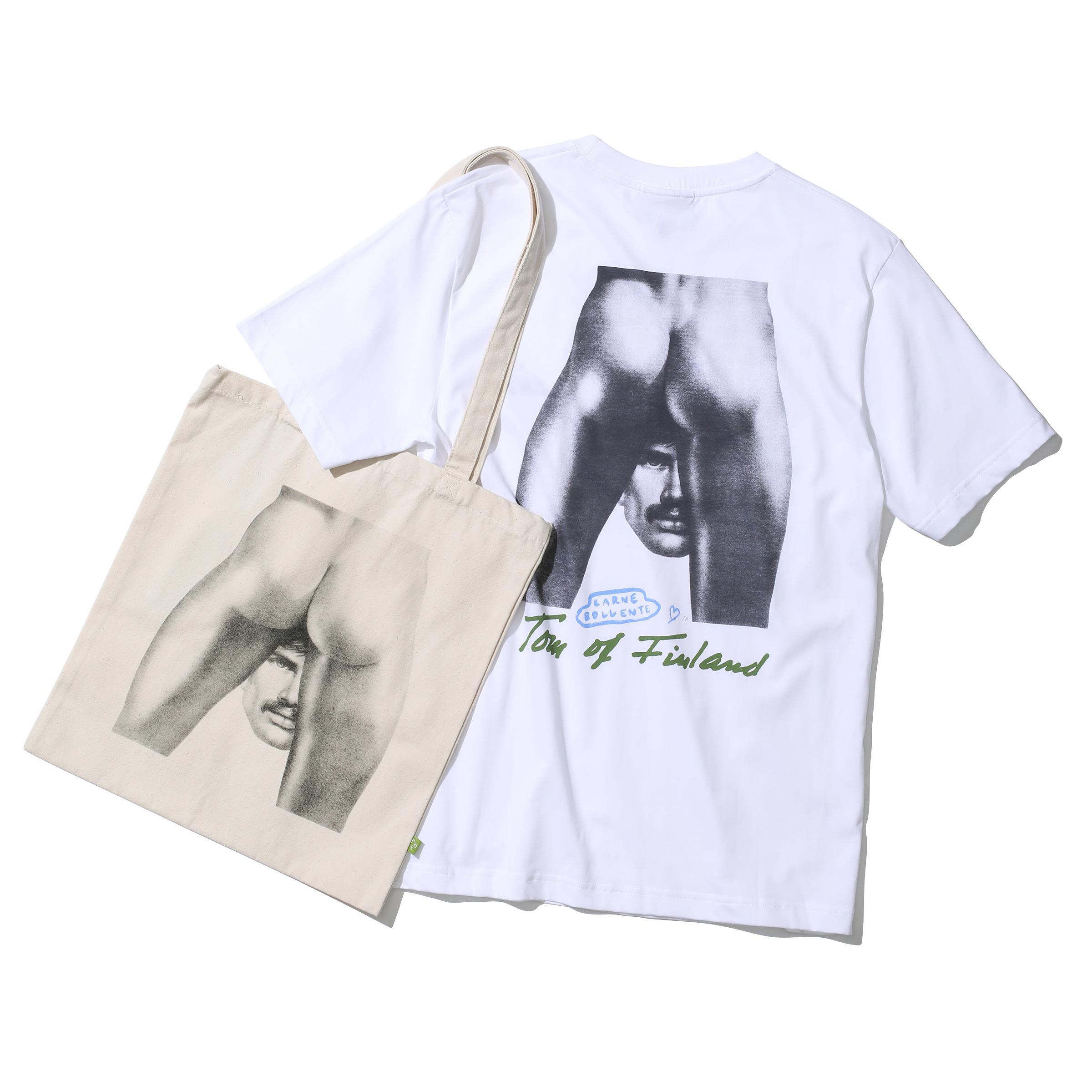 カルネ ボレンテ × トム・オブ・フィンランドのTシャツとトートバッグ